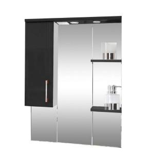 Зеркало со шкафом черное Монако Боско (Monaco) Аура Бриз 75