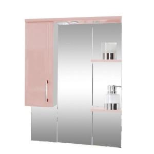 Зеркало со шкафом розовое Монако (Monaco) Аура Бриз 87