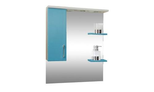 Зеркало со шкафом голубое Монако (Monaco) Аура Бриз 80 купить недорого в Москве