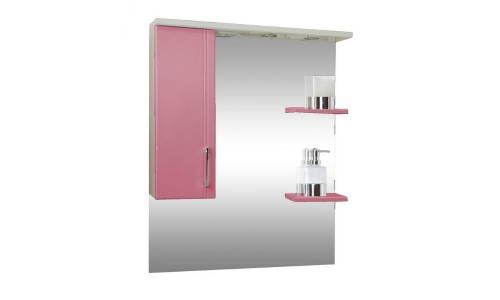 Зеркало со шкафом розовое Монако (Monaco) Аура Бриз 80 купить недорого в Москве