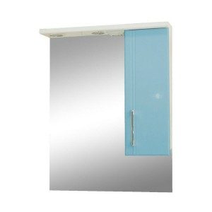 Зеркало со шкафом голубое Монако Боско (Monaco) Аура Бриз 60