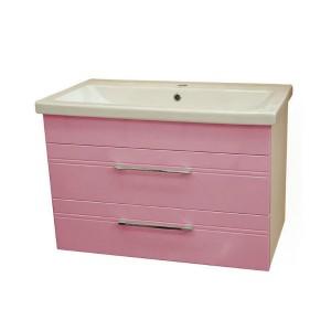 Тумба подвесная умывальник Монако Боско (Monaco) Аура Бриз 80 розовая