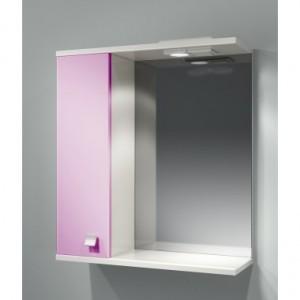 Шкаф зеркальный ДОМИНО 62 левый с/о (цвет розовый) (TIVOLI)