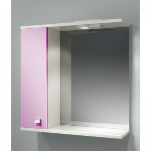 Шкаф зеркальный ДОМИНО 70 левый с/о (цвет розовый) (TIVOLI)