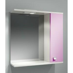 Шкаф зеркальный ДОМИНО 70 правый с/о (цвет розовый) (TIVOLI)
