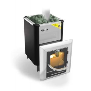 Печь каменка для бани и сауны Ермак-Элит 50 ТПС (Витязь) с теплообменником и панорамным стеклом